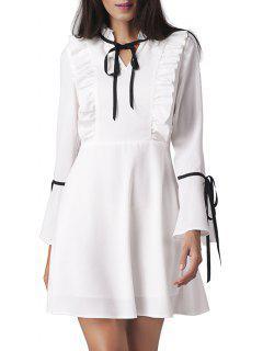 Mini Vestido De Campana Con Volante En La Manga - Blanco 2xl