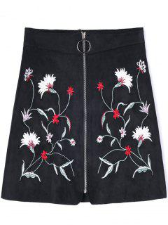 Zippered Floral Embroidered A-line Skirt - Black L