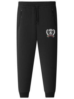 Graphic Drawstring Jogger Pants - Black L