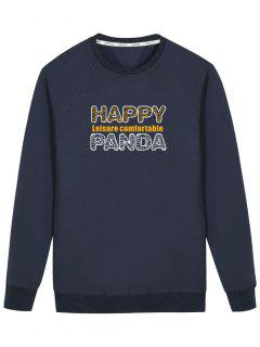Graphic Happy Panda Sweatshirt - Cadetblue L