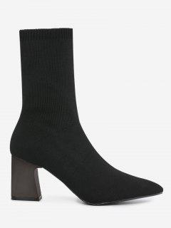Pointed Toe Fold Over Block Heel Boots - Black 39