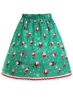 Christmas Santa Claus Snowflake Plus Size Skirt - Green Xl