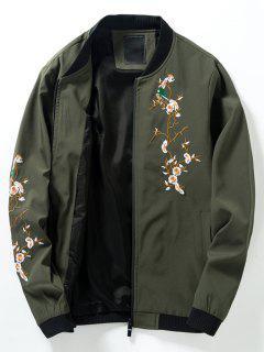 Chaqueta De Bombardero Bordada Floral Del Panel De Costilla Del Cuello Del Soporte - Verde Del Ejército L