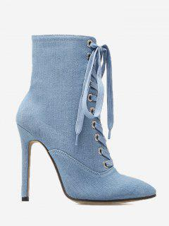 Tie Up Pointed Toe High Heel Denim Boots - Light Blue 39