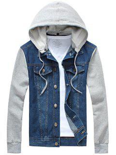 Panel Design Denim Jacket With Detachable Hood - Blue Xl