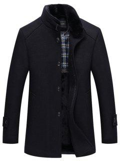 Detachable Faux Fur Collar Wool Blend Coat - Black L