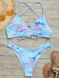 Geflochtenes Cami Tie Gefärbtes Bikiniset - Blau S