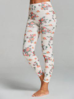 Floral Printed Yoga Leggings - White