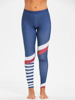 High Rise Stripe Panel Compression Gym Leggings - Blue L