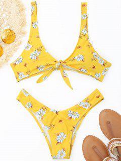 Thong Shaped Front Knotted Bikini Set - Yellow M
