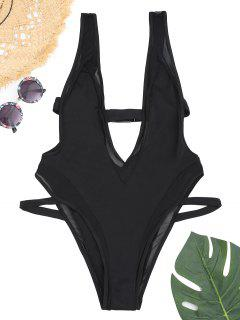 Mesh Panel Plunge High Cut Swimwear - Black L