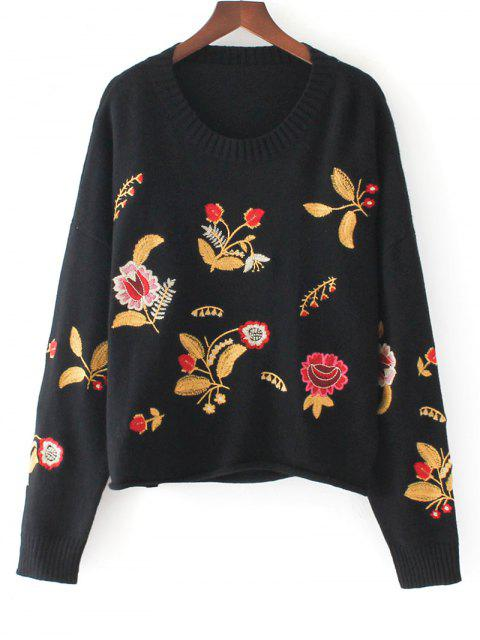 trendy Pullover Floral Embroidered Oversized Sweater - BLACK ONE SIZE Mobile