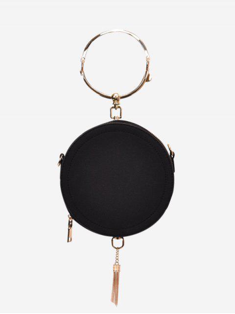lady Metal Ring Tassel Handbag - BLACK  Mobile
