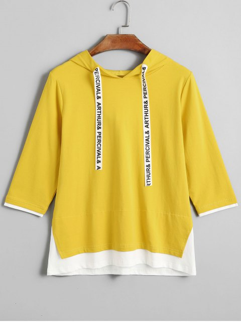 online Two Tone Hooded Top - MUSTARD M Mobile