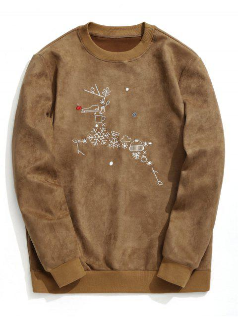 Wildleder-Weihnachtsren-Sweatshirt - Braun S Mobile