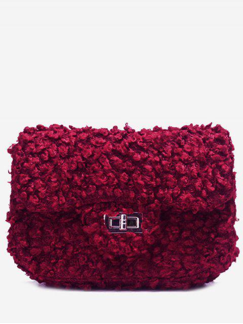 Haspel Kunstpelz Kette Crossbody Tasche - Rot  Mobile