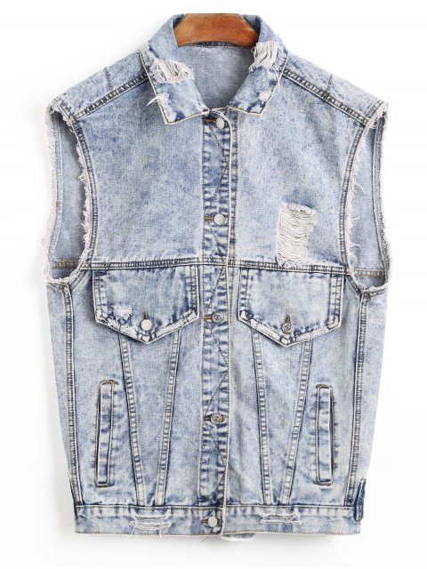 new Distressed Denim Waistcoat - LIGHT BLUE ONE SIZE Mobile