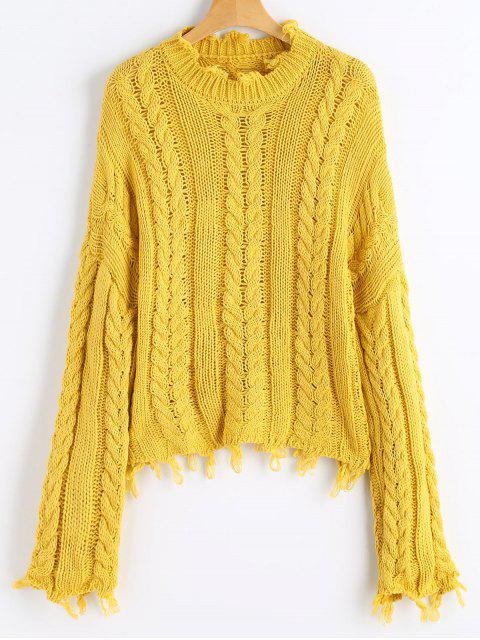 Pullover mit Ausgefranstem Saum und Kabelstrick - Senf Eine Größe Mobile
