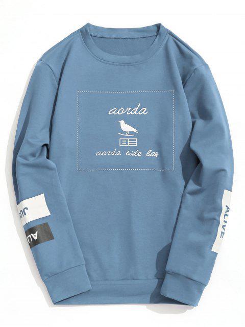 Graphic Marled Sweatshirt mit Rundhalsausschnitt - Helles Blau L Mobile