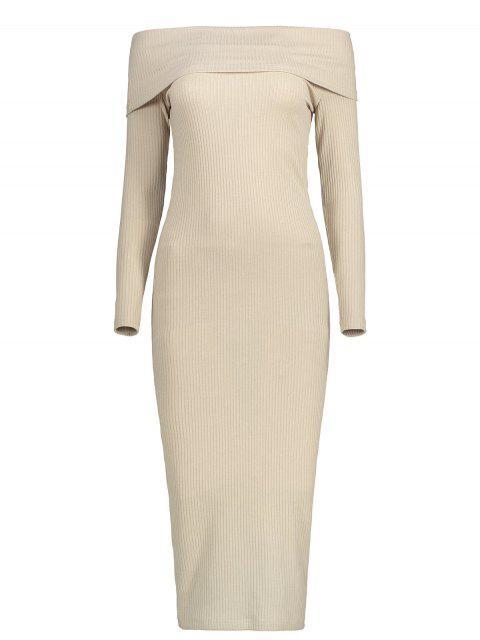 womens Off The Shoulder Plain Knitted Dress - LIGHT KHAKI L Mobile