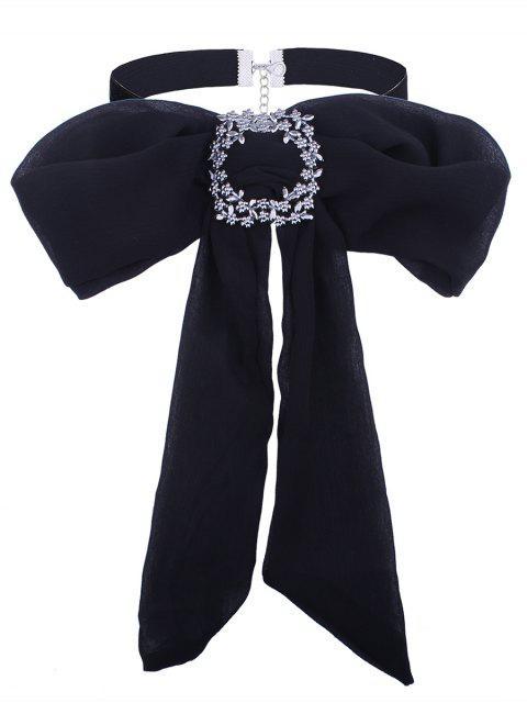 Strassierte Blumen Schleife Krawatte Samt Halsband - Schwarz  Mobile