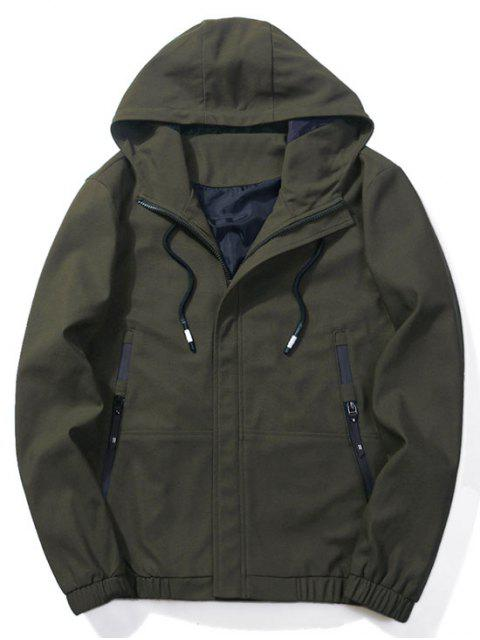 women's Zip-pockets Hooded Jacket - ARMY GREEN M Mobile