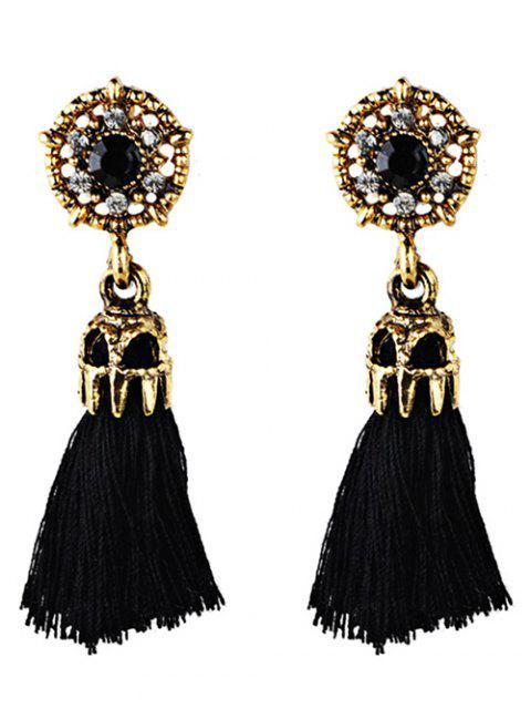 buy Rhinestone Embellished Artificial Gem Tassel Drop Earrings - BLACK  Mobile
