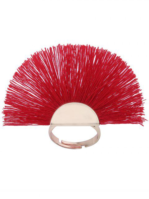 outfit Alloy Fan-Shape Tassel Circle Ring - RED  Mobile