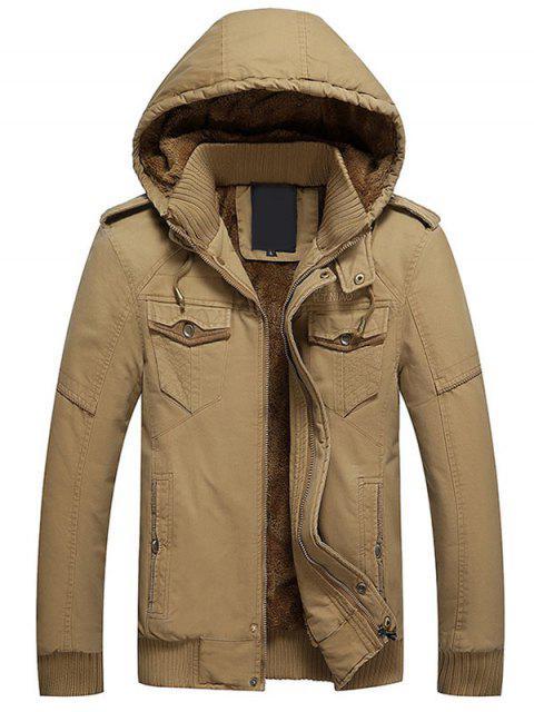 buy Hooded Flocking Jacket - KHAKI L Mobile