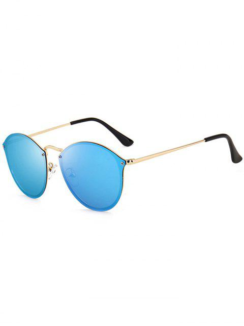 Anti UV Cat Eye gespiegelte Sonnenbrille - Gold+Eis Blau  Mobile