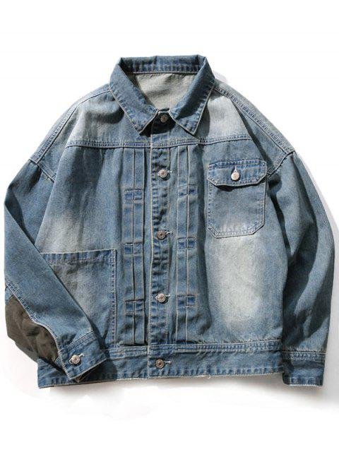 women Panel Design Drop Shoulder Pocket Denim Jacket - BLUE GRAY 2XL Mobile