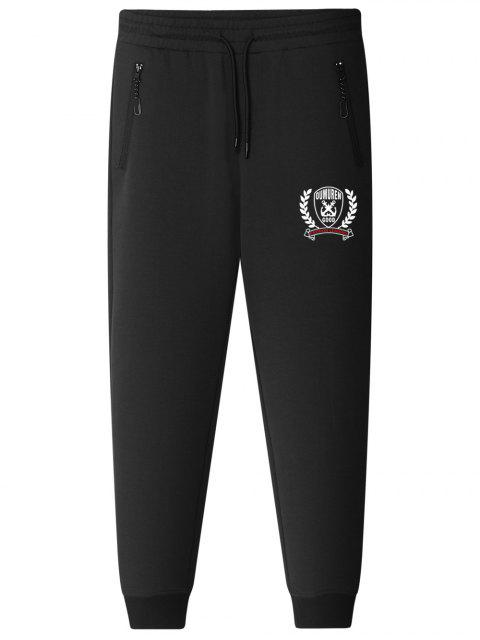 women Graphic Drawstring Jogger Pants - BLACK L Mobile