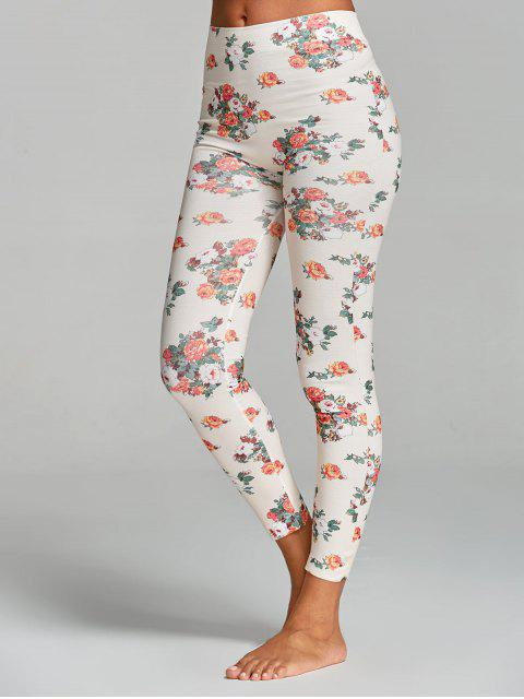 buy Floral Printed Yoga Leggings - WHITE ONE SIZE Mobile