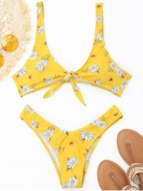 trendy Thong Shaped Front Knotted Bikini Set - YELLOW L Mobile