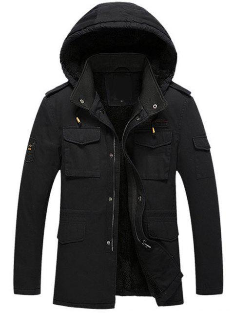 womens Hooded Flocking Zipper Jacket - BLACK 4XL Mobile