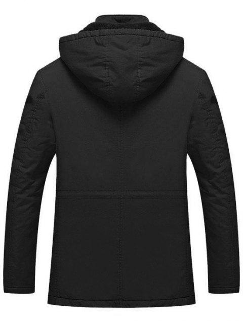 new Hooded Flocking Zipper Jacket - BLACK XL Mobile
