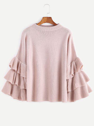 Flouncy Layered Sleeve Pullover Sweater - Pink