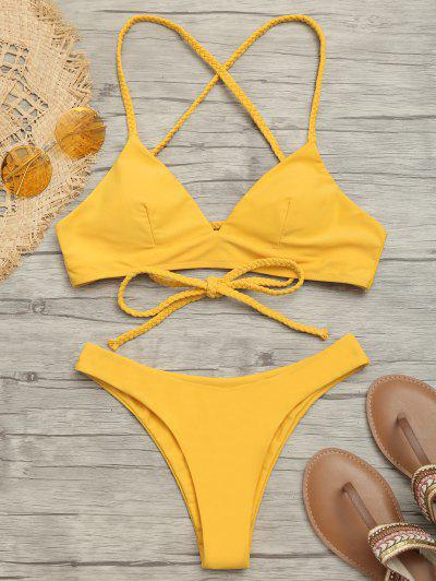Plaited Cami Cross Back Bikini Set - Mustard M