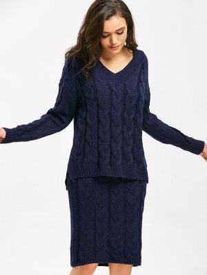 V Neck Cable Knit Sweater And Sheath Sweater Dress - Purplish Blue