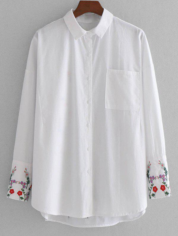 Floral Embroidered High Low Shirt with Pocket 232624401