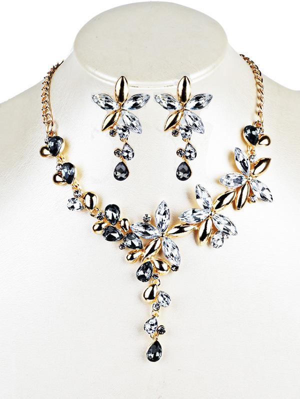 Crystal Floral Embellished Pendent Necklace Earrings Set