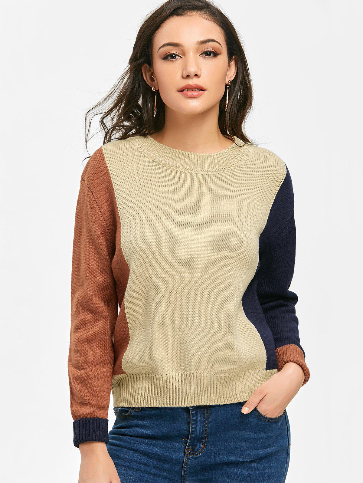 Ribbed Hem Color Block Pullover Sweater 232671401