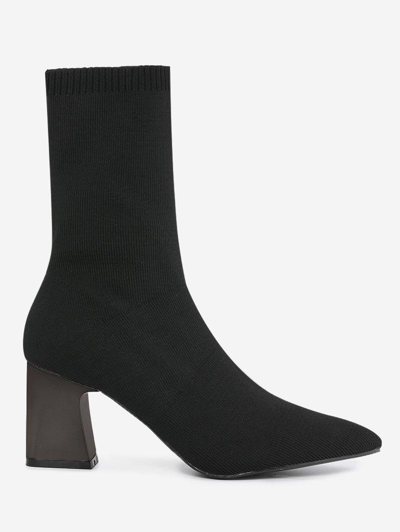 Pointed Toe Fold Over Block Heel Boots 231884904