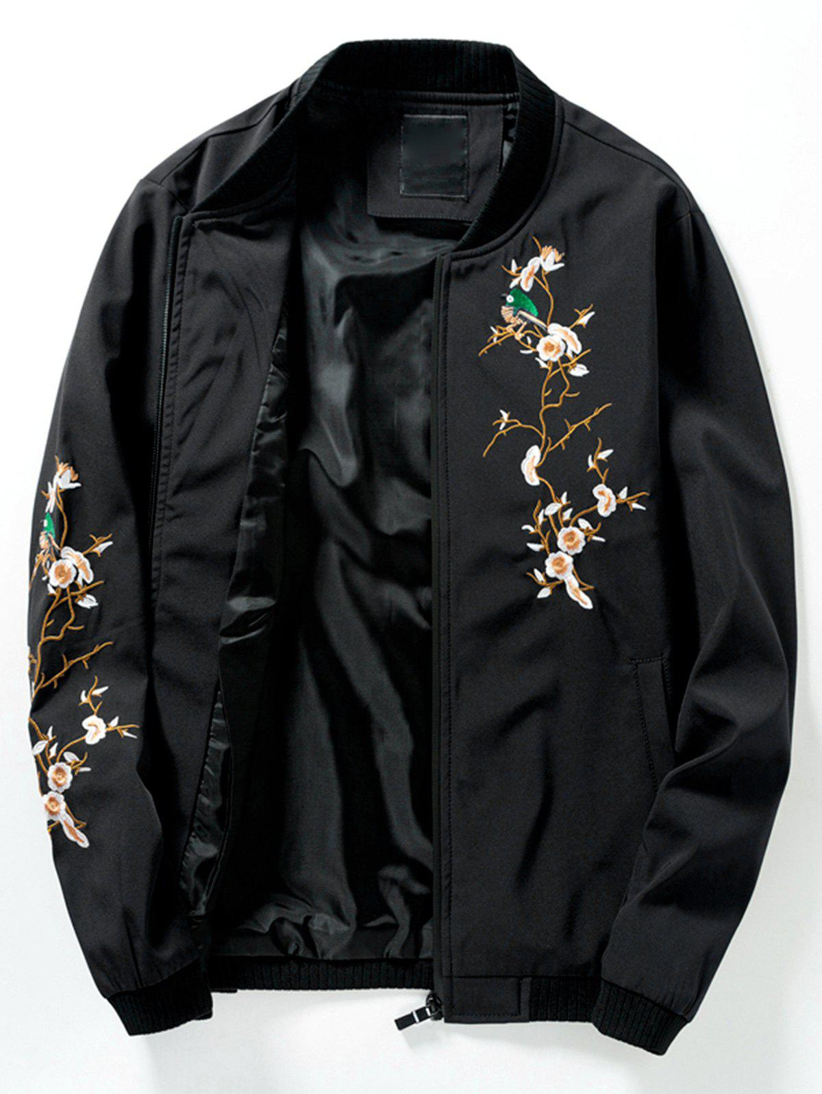Stand Collar Rib Panel Florals Embroidered Bomber Jacket 232618111
