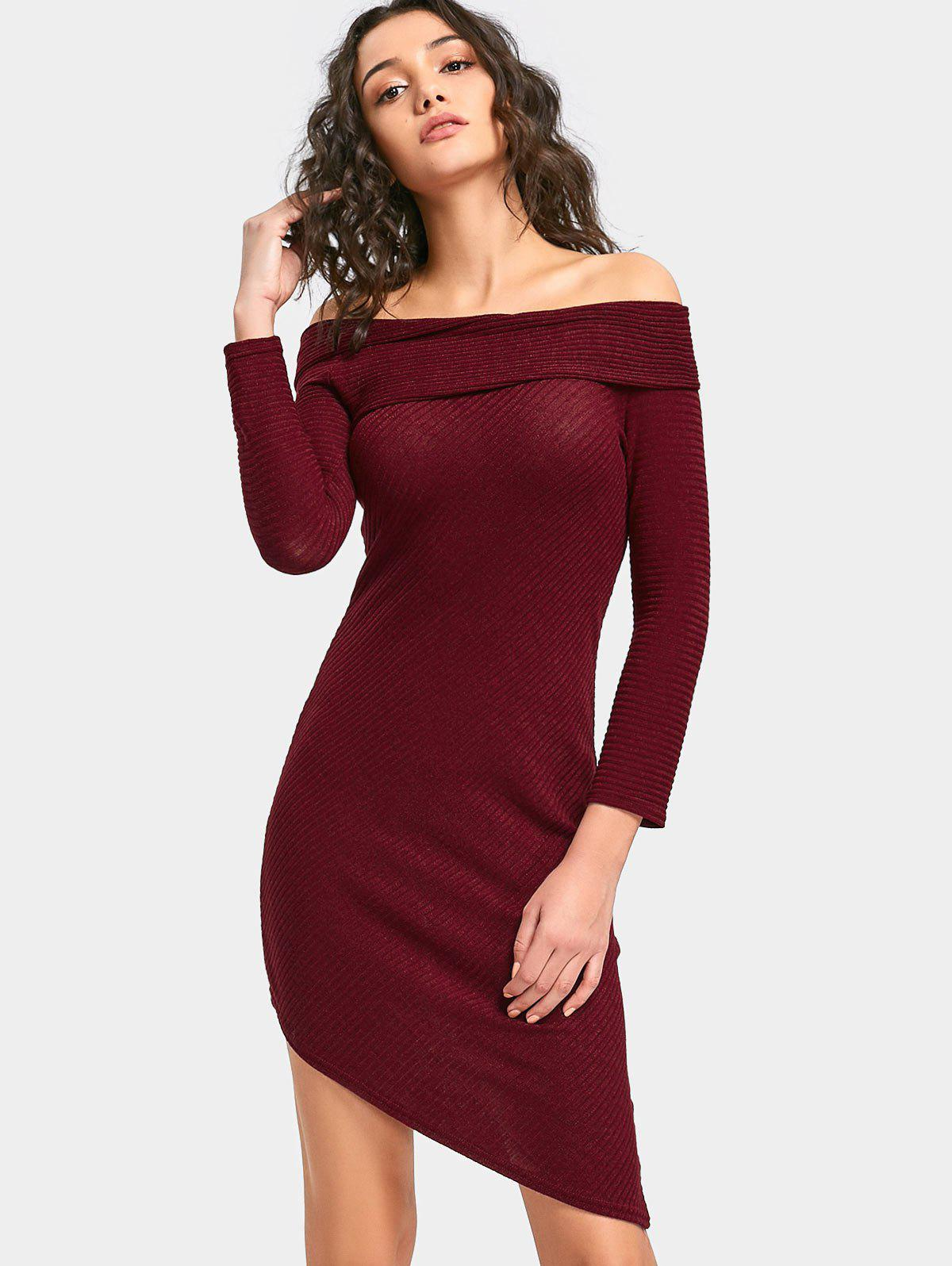 Off Shoulder Mini Knit Ribbed Dress 232805402