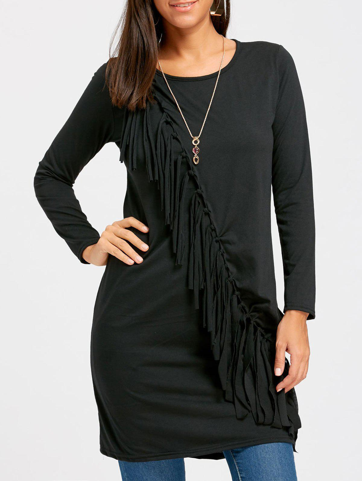 Tassel Overlap Front Long Sweater 232097303