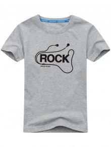 T-shirt Gráfico Curto Da Rocha Da Luva - Cinza L