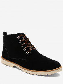 عالية أعلى كعب منخفض أحذية عادية - أسود 41