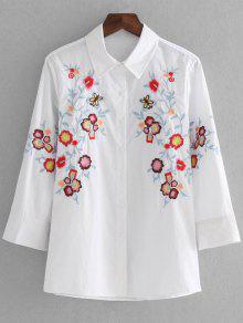 Loose Button Down Camisa Bordada - Branco S