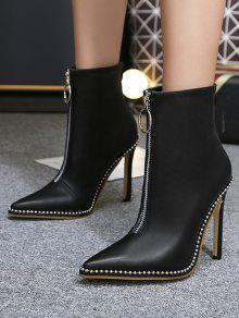 Rivets Pointed Toe Stiletto Heel Boots